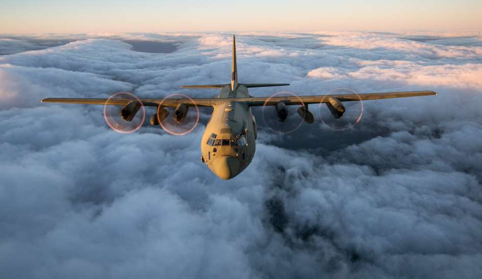 A Royal Air Force C130J Hercules captured by RAF photographers who were on the ramp of a second C130J.